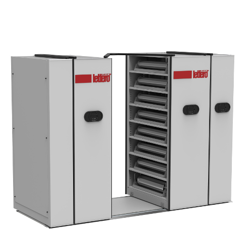 Movable shelving system for magnetic cylinders